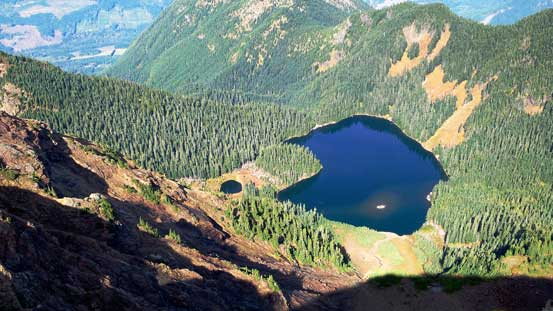Looking down at the lower Pierce Lake