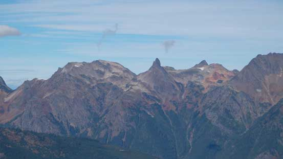 The Cheam Range peaks. Baby Munday is the pointy one