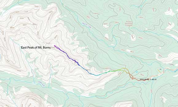 Scramble route for the East Peak of Mt. Burns
