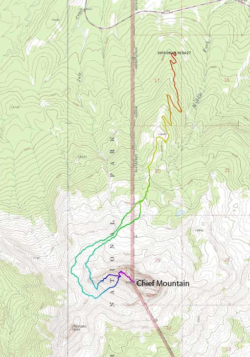 Chief Mountain scramble route from the North side