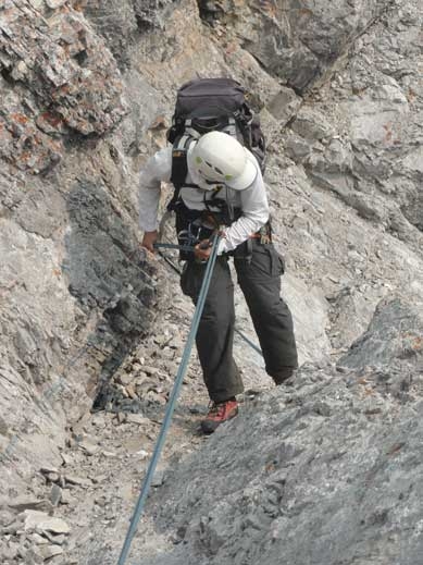 Me on the 3rd rappel. Photo by Maury