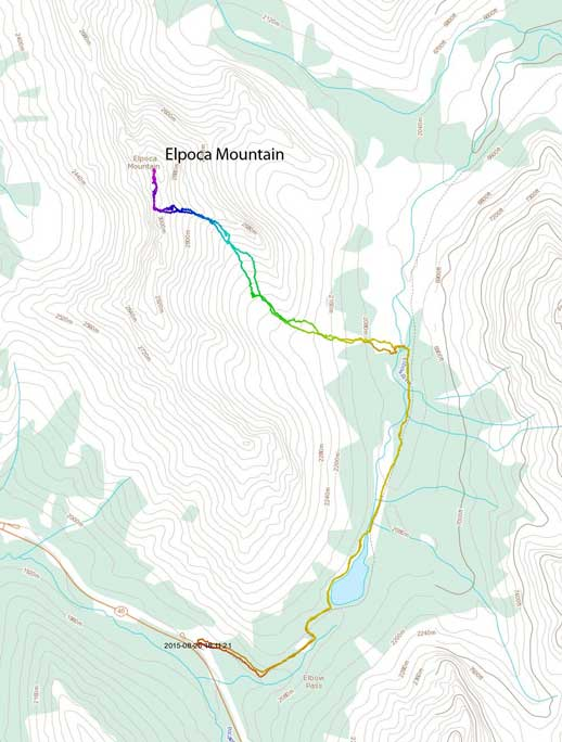 Elpoca Mountain standard ascent route