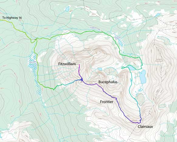 The Fitzwilliam to Clairvaux Traverse route