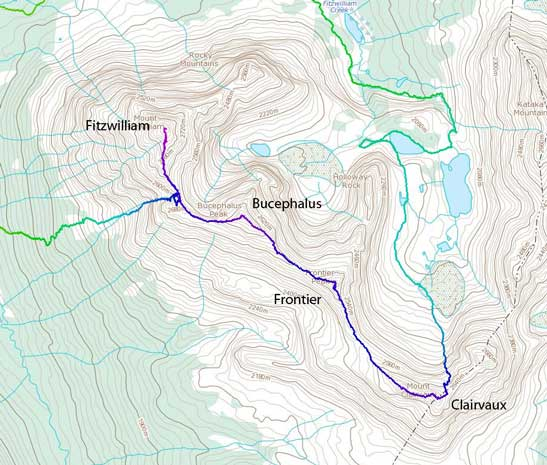 The traverse route from Fitzwilliam to Clairvaux