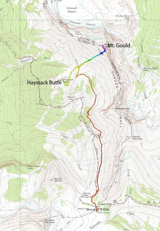 Ascent routes for Mt. Gould and Haystack Butte