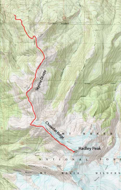 Hadley Peak scramble route via Skyline Divide