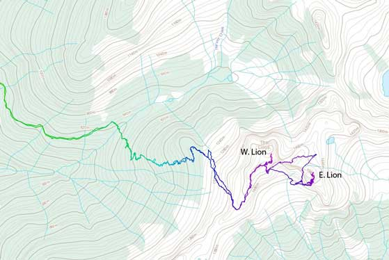 Ascent route for West Lion and East Lion