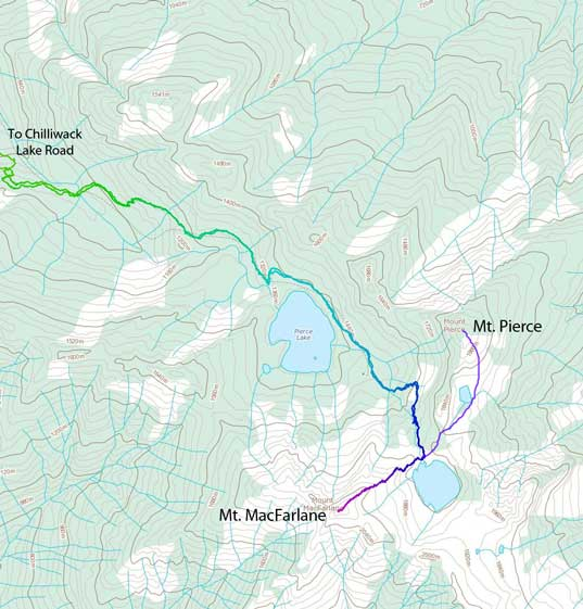 Scramble route for Mt. MacFarlane and Mt. Pierce