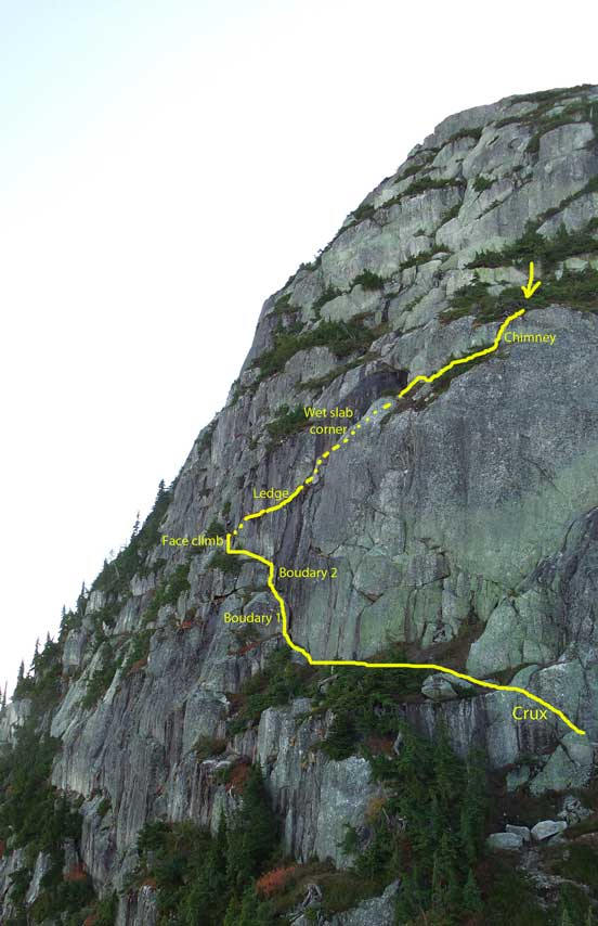 Our rough route up the lower half of the NNW Face