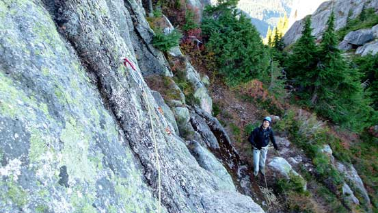Vlad ready to climb up the crux (also the Pitch 1 of Escape Velocity route)