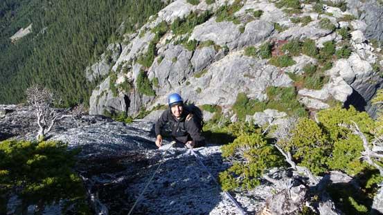 Vlad ascending the upper batman rope