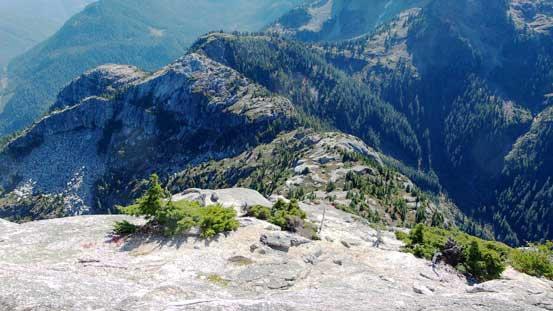 Looking down the steep SE Ridge, and the connecting ridge towards Sky Pilot