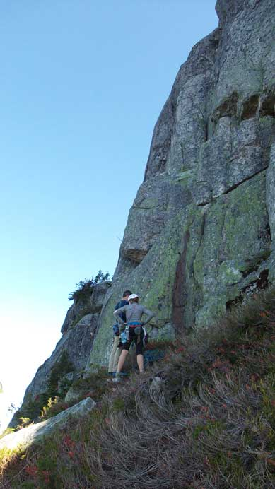 These two climbers just started the Escape Velocity route