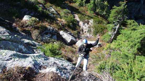 Rappelling off the crux
