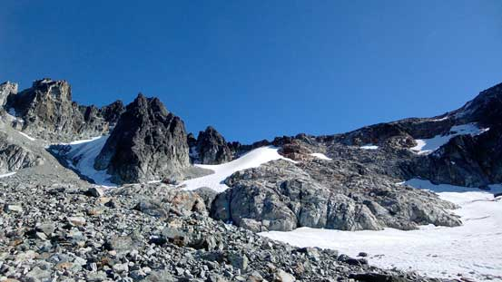 The first glacier on right; second glacier up high at middle