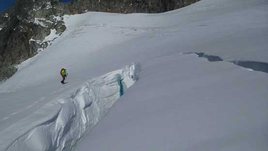 Brian and the two paralleling crevasses