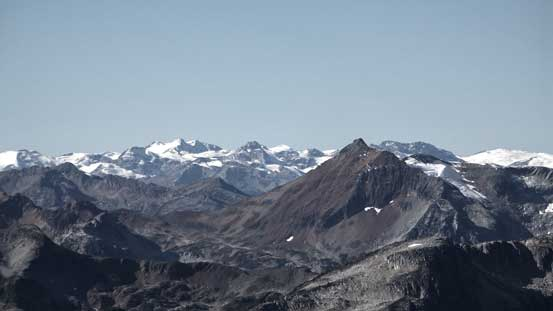 Some peaks on the Pemberton Icefield in the distance