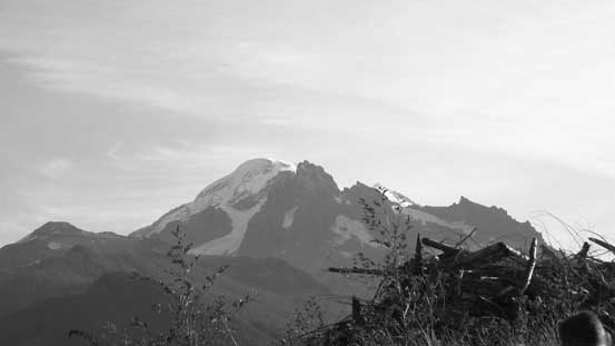 Morning view of Mt. Baker. The dark peak in front is Lincoln Peak