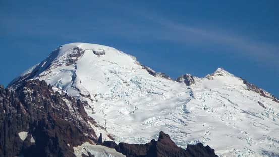 A zoomed-in view of the summit crater of Mt. Baker