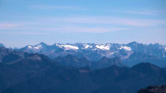 Some high peaks in the North Cascades including Primus Peak(L) & Eldorado Peak (R)