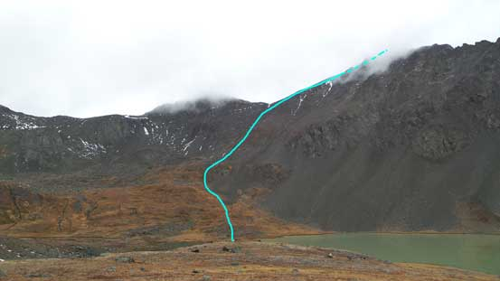 The route up Mt. Seton is shown