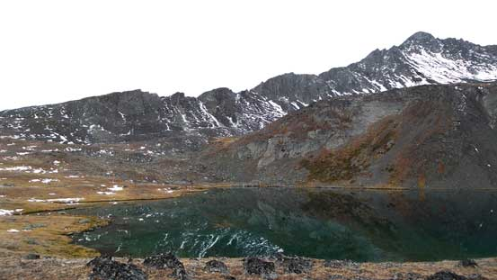 The lake and an unnamed peak behind