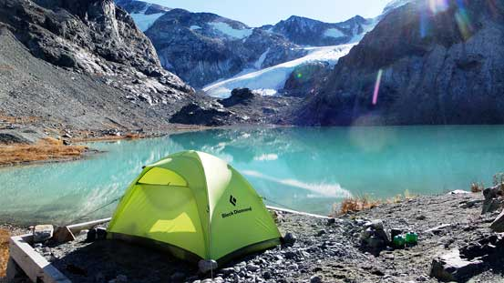 My tent and Wedgemount Lake