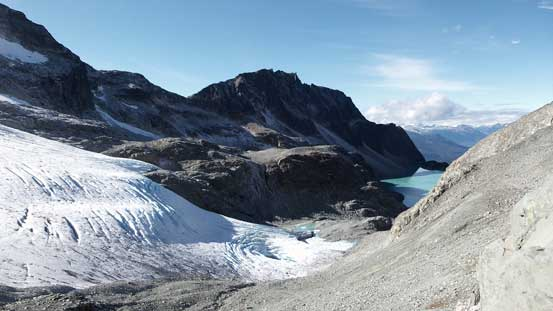 Wedgemount Glacier flowing into the Lake