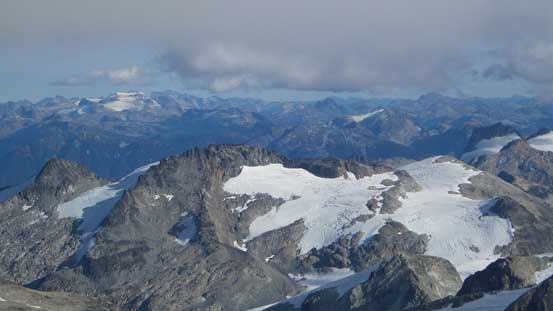 Looking down towards Mt. Neal (foreground) by Needles Glacier