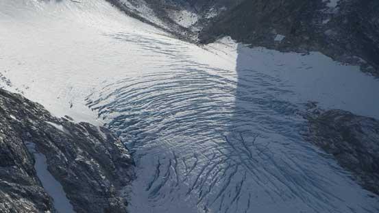 The very crevassed Wedgemount Glacier