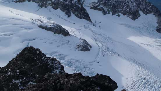 "The theme of these glaciers around is ""heavily crevassed""..."