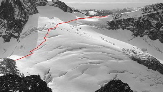 My rough route through the glacier is shown