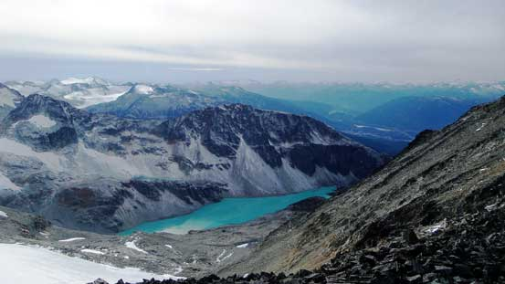 A view looking down towards Wedgemount Lake