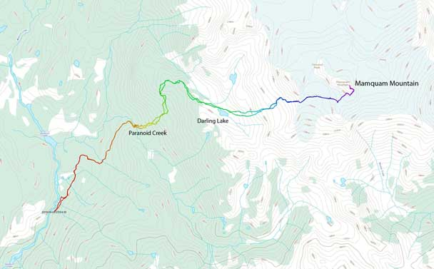 Mamquam Mountain ascent route via Darling Lake, SW Glacier and SE Ridge