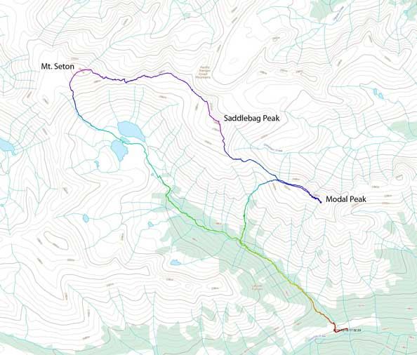 Mt. Seton, Saddlebag Peak and Modal Peak traverse route