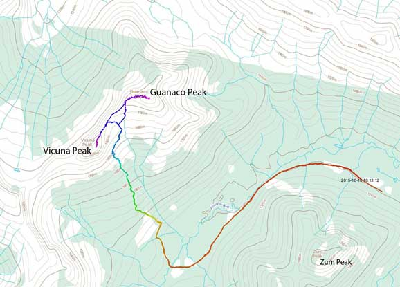 Vicuna Peak and Guanaco Peak scramble route