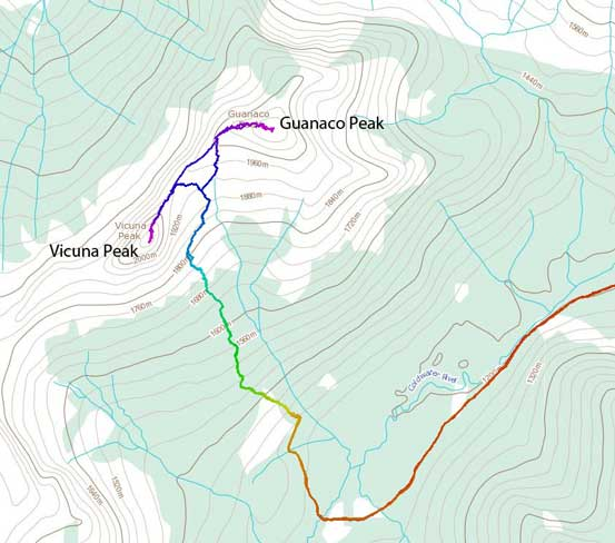 Scramble route for Vicuna Peak and Guanaco Peak