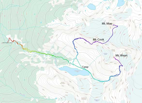 Ascent route for Mt. Weart, Mt. Cook and Mt. Moe