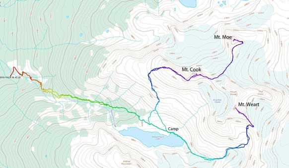 Ascent route for Mt. Cook, Mt. Moe and Mt. Weart