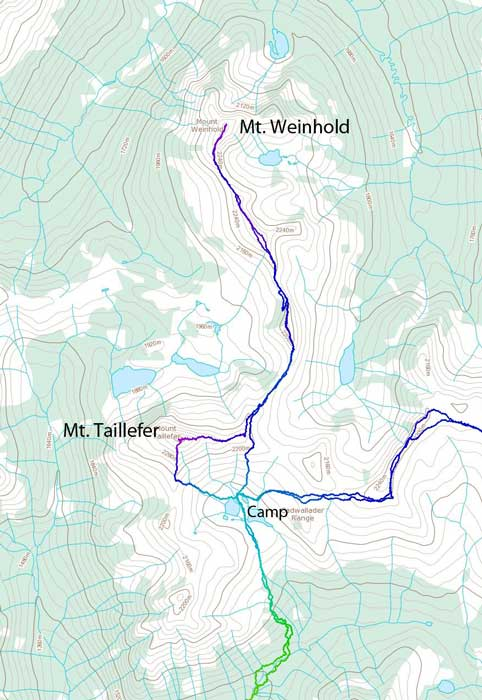 Scramble routes for Mt. Taillefer and Mt. Weinhold