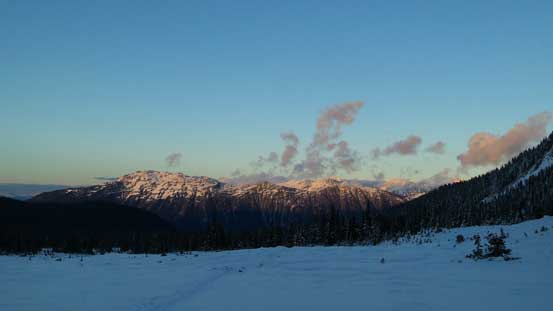 Evening glow on Whistler Mountain and part of the Fitzsimmons Range