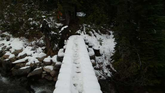Bridge crossing 21 Mile Creek was slippery