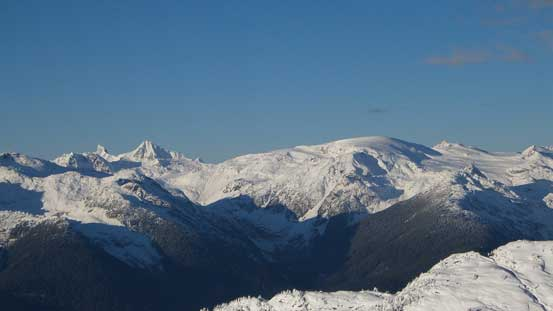 "Mt. Cayley is the striking one on left; Powder Mountain is the ""snow dome"""