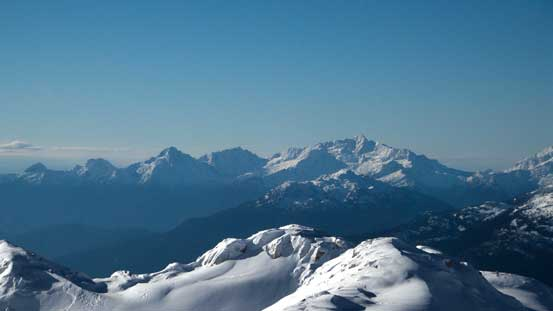 Tantalus Range - Alpha, Serratus, Tantalus from L to R