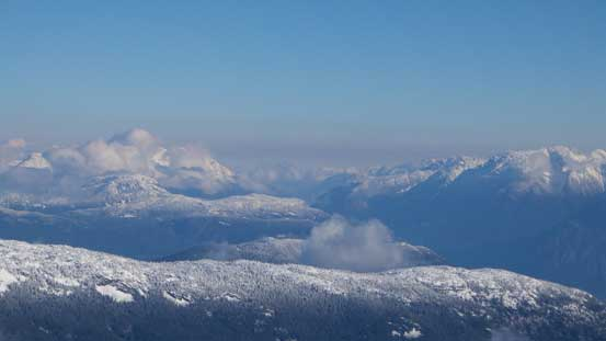 Peaks north of Pemberton. The Place Glacier Group on far right