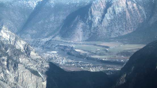 A zoomed-in view towards Lillooet
