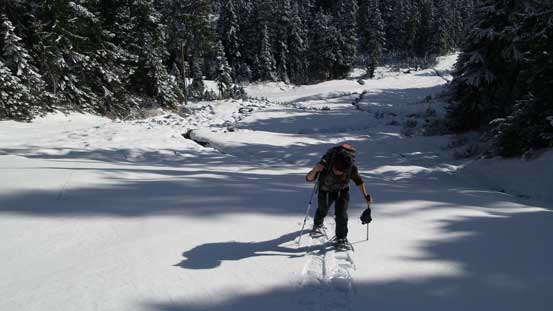 Snowshoeing up the short-cut (a blue ski run)