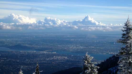 A zoomed-in view of the city of Vancouver