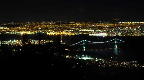 Night scenery towards Lions Gate Bridge and Vancouver