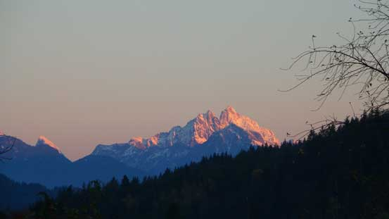 Alpenglow on Mt. Judge Howay from Highway 7 east of Mission